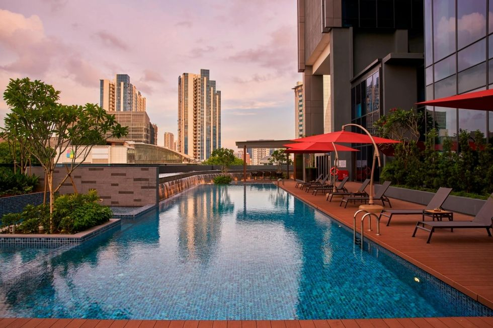 Rooftop swimming pool at Farrer Park Singapore