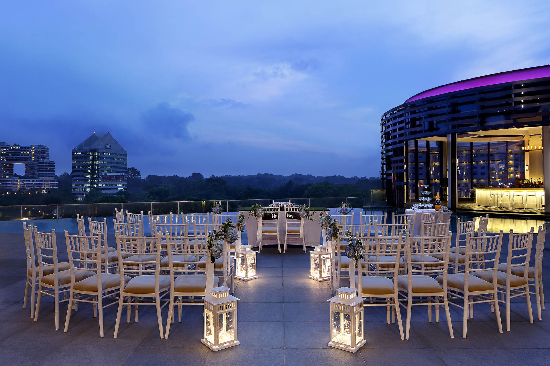 Pool deck solemnisation at Park Hotel Alexandra Singapore
